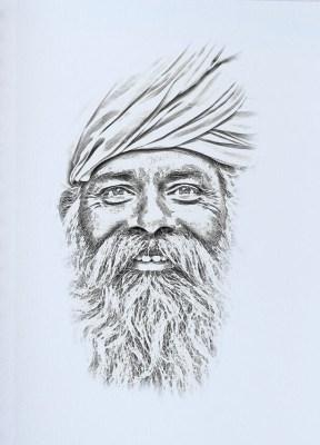 indiai férfi szén portré rajz