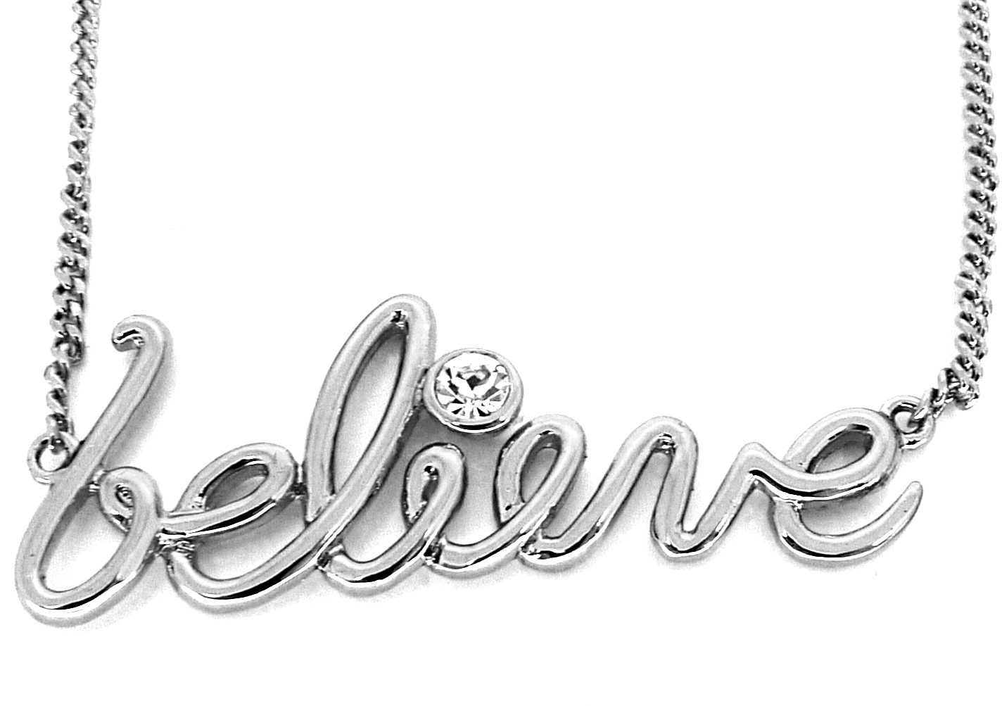 Disney Couture Silver Curly Believe Word Necklace