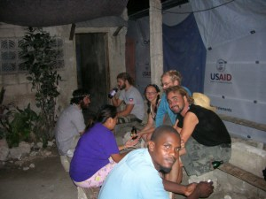Ulli and All Hands volunteers enjoying one of Leogane's open air bars