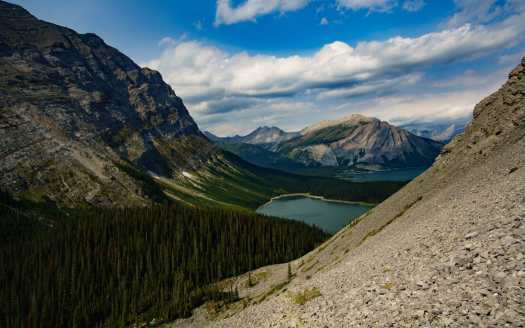 Looking back towards Hidden Lake and Upper Kananaskis Lake on Northover Ridge