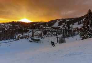 Enjoying the last run before the sun sets at Whitefish Mountain Resort