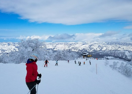 Bluebird day while skiing at Nozawa Onsen