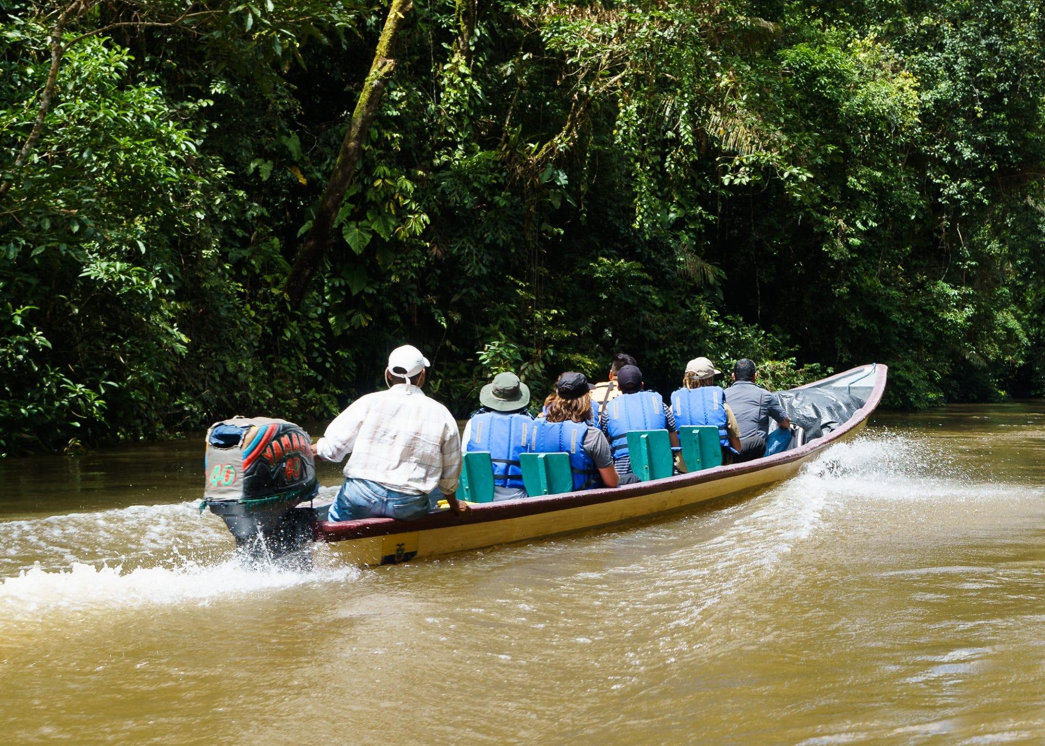 A Boat Touring The Cuyabeno River In Ecuadors Amazon