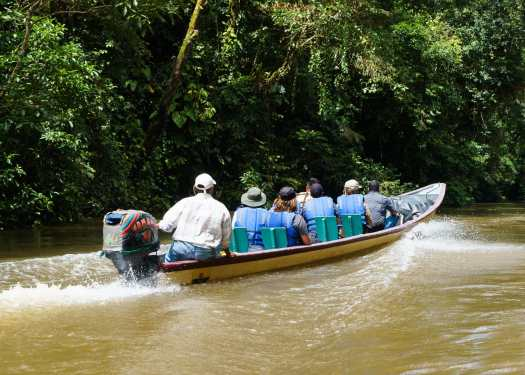 A boat touring the Cuyabeno River in Ecuador's Amazon