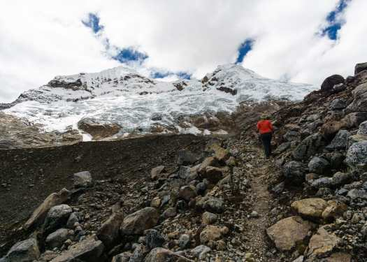 Hiking towards the Alkipo glacier on the Alkipo Inshinca Trek