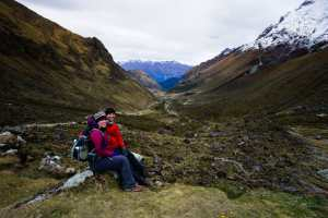 Looking down the valley after descending from Salkantay Pass