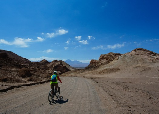 Bicycling at Valle de Luna in Chile