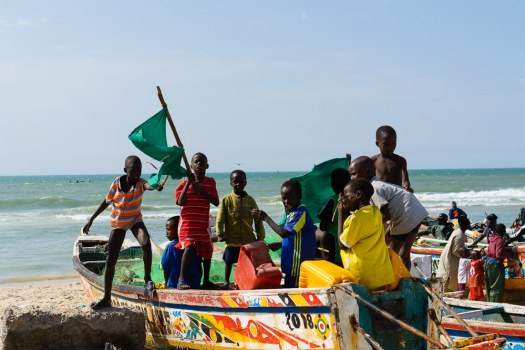 These kids posed and sang their fisherman song for us in Senegal