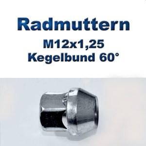 Radmuttern M12x1,25 mit Kegelbund 60°