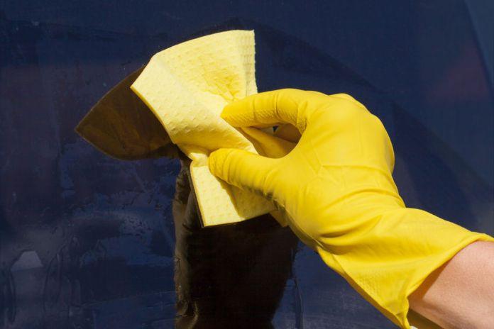 22846464 - hand in glove washing window.