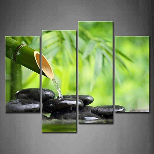 Nan Wind Zen Canvas Wall Art Spa Still Life With Green Bamboo