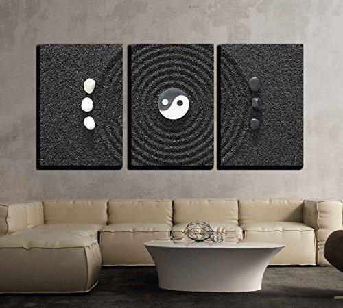 wall26 – 3 Piece Canvas Wall Art – Zen Garden in Black Sand – Modern ...