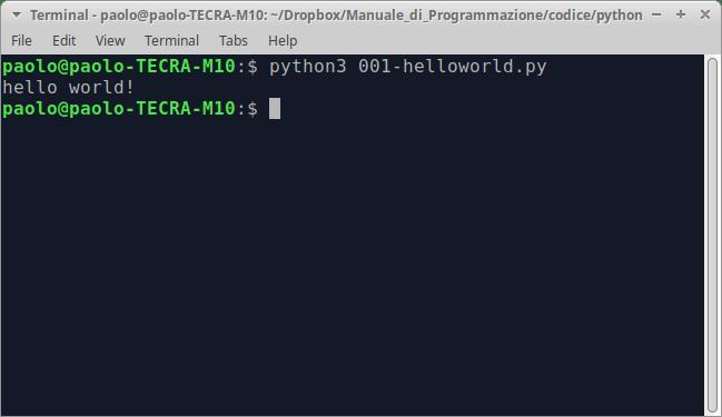 Fig. 1.1 – Esecuzione del primo programma in Python.