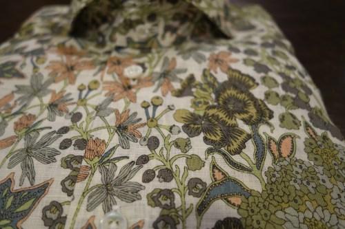 Liberty,リバティ、プリントシャツ、柄シャツ、アースカラー、自然、麻シャツ、カッタウェイ