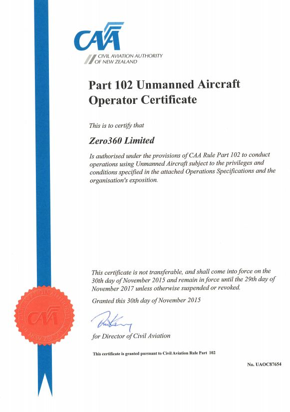 Part 102 Caa Operator Certificate Aerial Photography