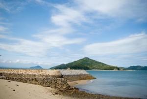 初夏の海岸と青い海