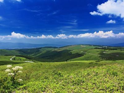 初夏の青空と丘と草原と
