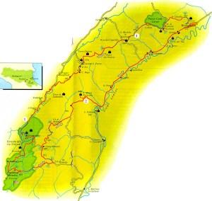 Mappa del percorso nelle valli del Sintria e Lamone