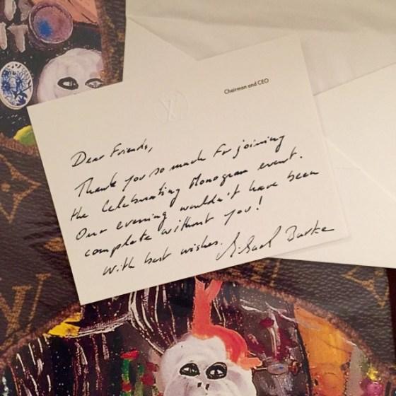 O cartão de agradecimento do CEO da Louis Vuitton  Michael Burke para o casal Von Blankenhagen