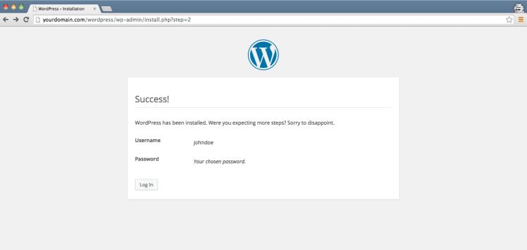 Wordpress Install - Success -Step 4