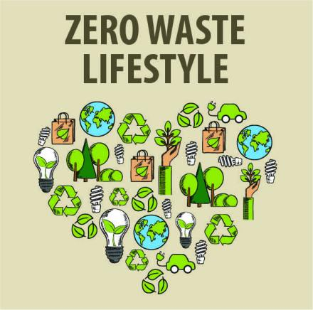 A heart-shaped representation of the zero waste lifestyle using common symbols of being eco-friendly.