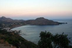 La baia di Plakias al tramonto