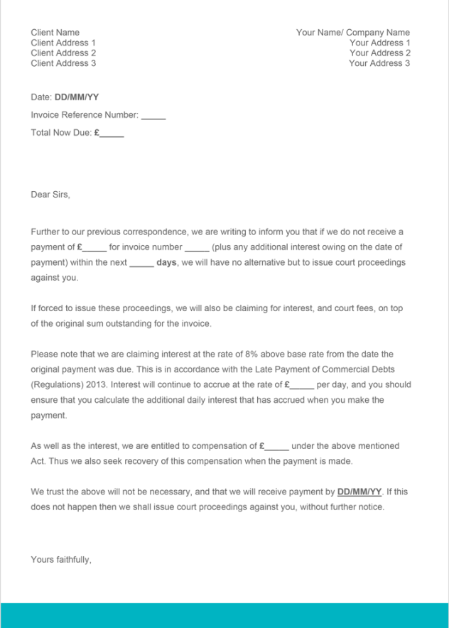 sample letter to customer for late payment