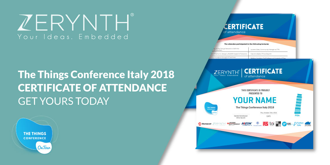 The Things Conference Italy 2018 certificate of attendance – get yours today