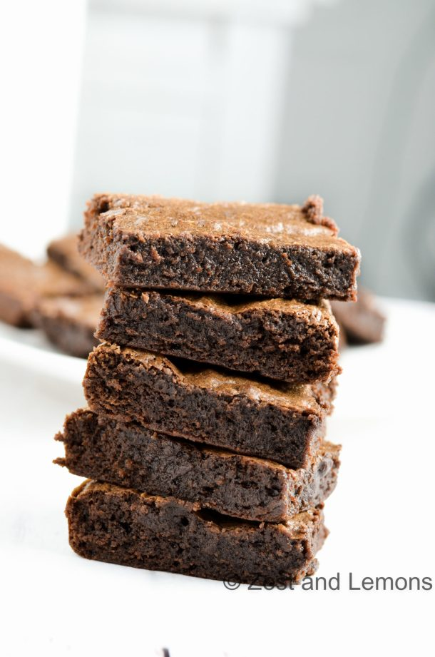 Chewy Coconut Oil Brownies (gluten free) - Zest and Lemons