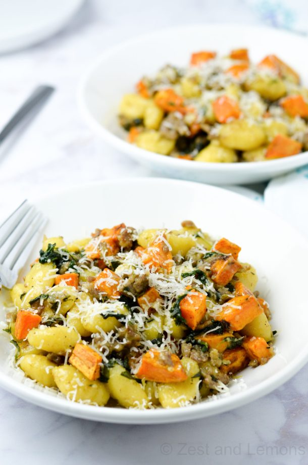 Gnocchi with Sausage, Sweet Potato, and Spinach