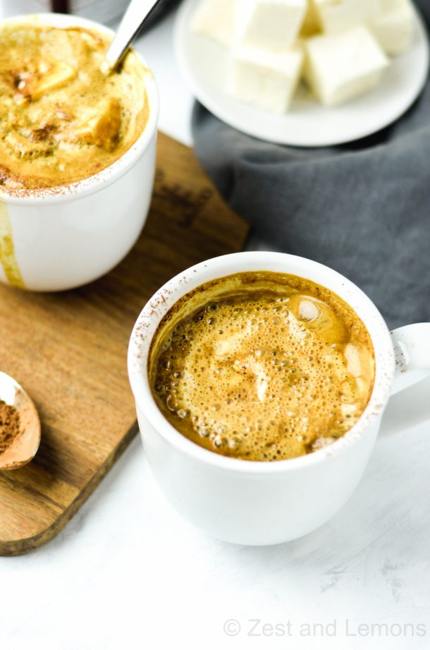 Turmeric hot chocolate, full of warming spices and perfect for winter! - Zest and Lemons
