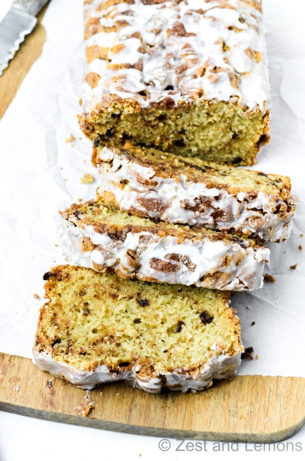 Gluten free cinnamon swirl bread! Incredibly moist, tender, and loaded with mini chocolate chips - Zest and Lemons