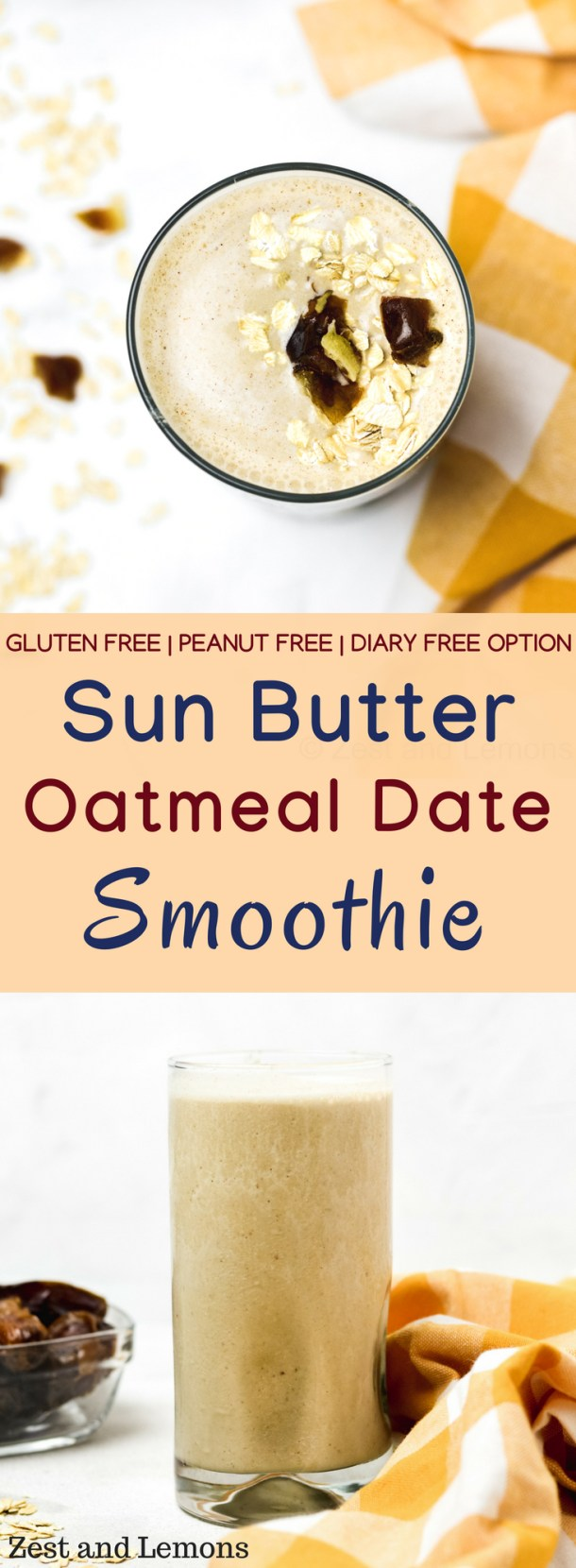 A creamy smoothie made with sunflower seed butter, oatmeal, and dates. This smoothie is perfect for breakfast or a mid-afternoon snack! - Zest and Lemons #glutenfree #dairyfreeoption #smoothie #breakfastshake