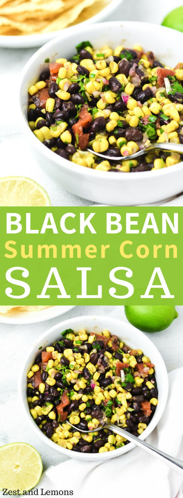 easy black bean and corn salsa, perfect for dipping chips or adding to tacos - Zest and Lemons #glutenfree #salsarecipes