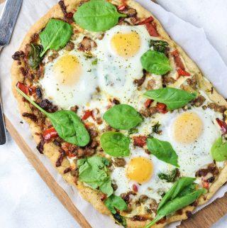 Gluten Free Focaccia Breakfast Pizza