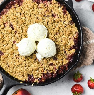 strawberry nectarine skillet crisp, gluten free - Zest and Lemons