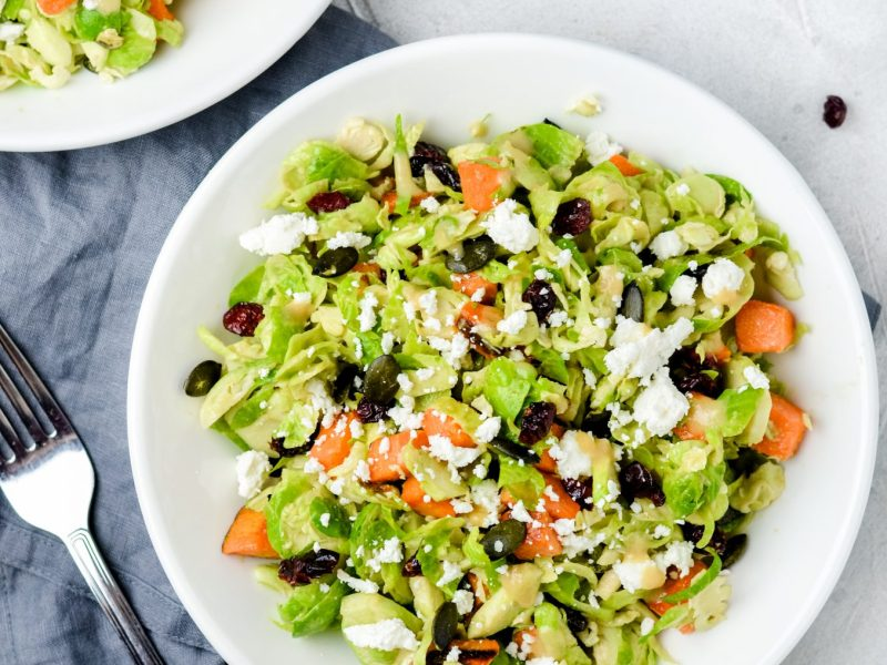 Fall shredded Brussels sprout salad - Zest and Lemons