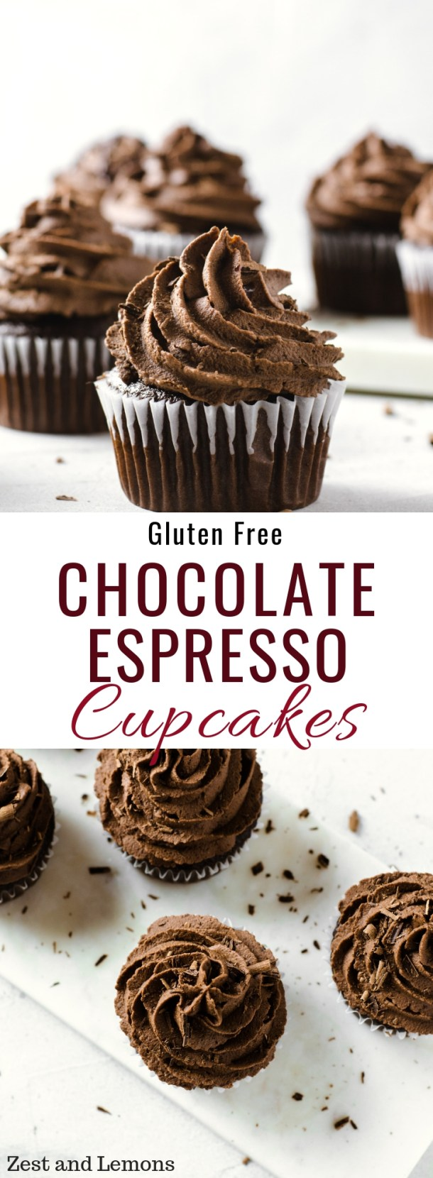 Gluten free chocolate cupcakes with espresso ganache - Zest and Lemons #glutenfreecupcakes #chocolatecupcakes #chocolateespresso