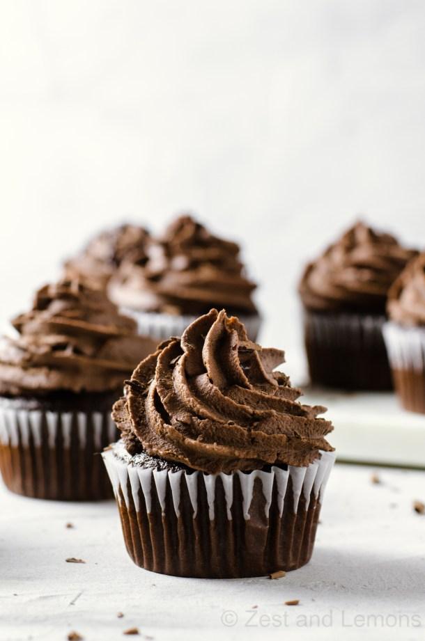 Gluten free chocolate cupcakes with espresso ganache - Zest and Lemons