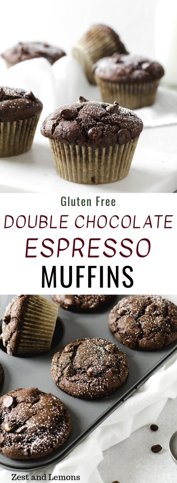Gluten free double chocolate espresso muffins. Rich and decadent chocolate muffins with a deep chocolate flavor! - Zest and Lemons #glutenfree #glutenfreemuffins #chocolatemuffins #chocolateespresso