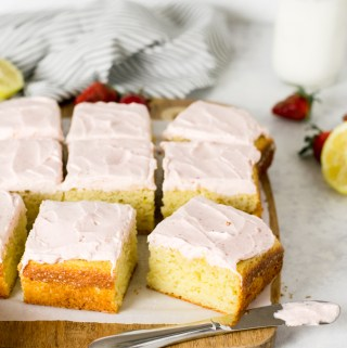 Gluten Free Lemon Snack Cake with strawberry cream cheese frosting - Zest and Lemons