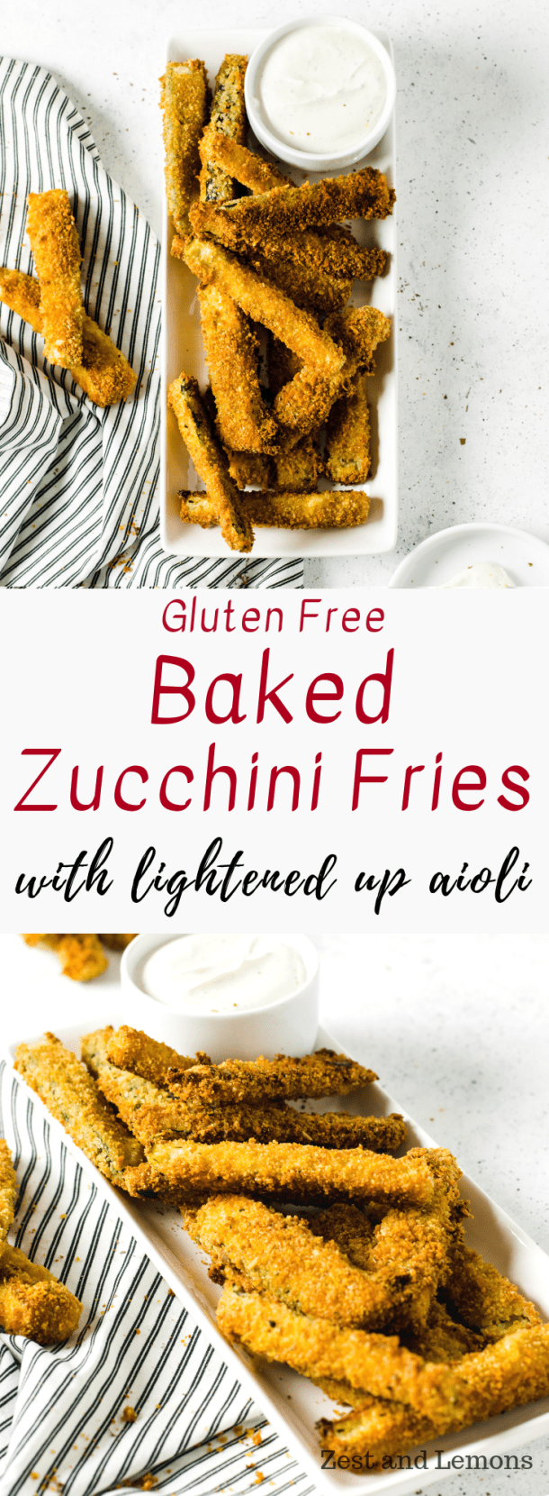 Crispy gluten free baked zucchini fries, served with a lightened up aioli. Perfect for snacking or game-day appetizers - Zest and Lemons #glutenfree #zucchinifries #glutenfreesnacks
