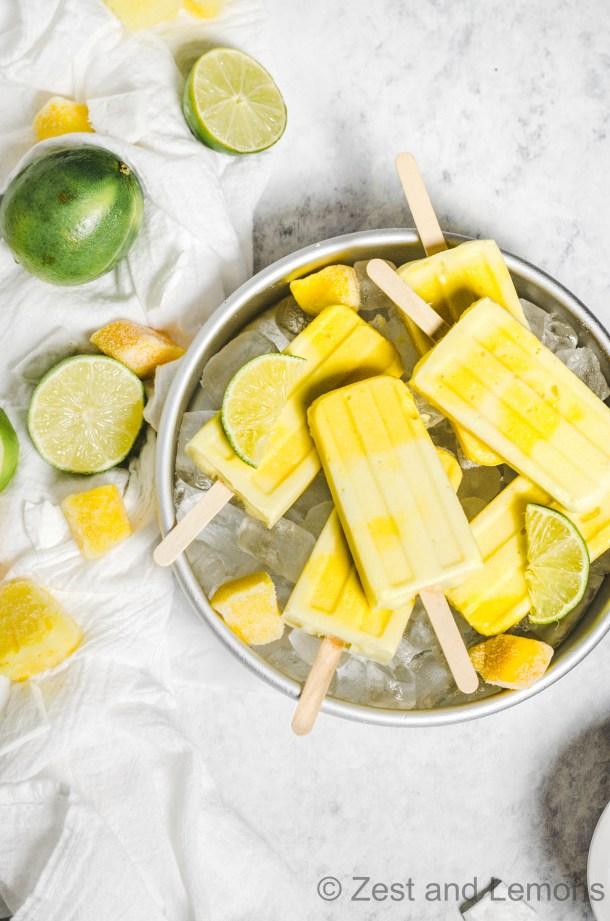 Pineapple Mango Popsicles - Zest and Lemons