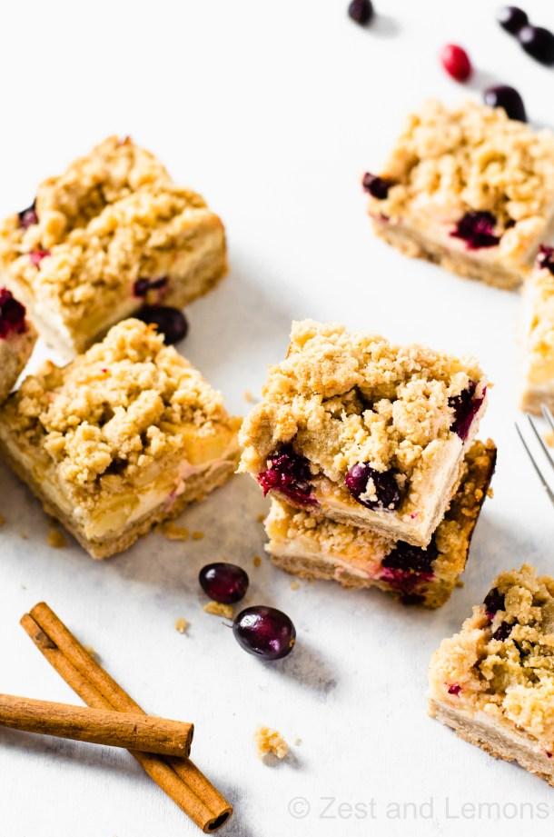 Gluten free apple cranberry cheesecake bars - Zest and Lemons