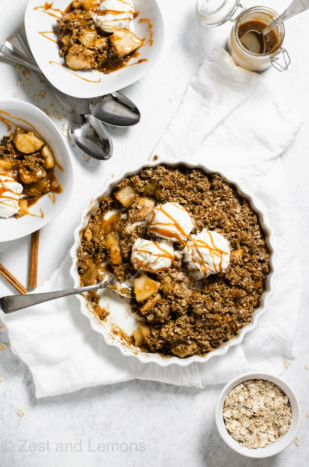 Gluten Free Apple Crisp, Refined Sugar Free - Zest and Lemons