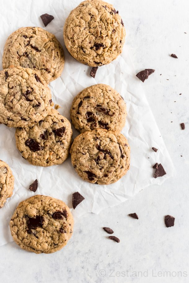 Gluten free oatmeal chocolate chunk tahini cookies - Zest and Lemons