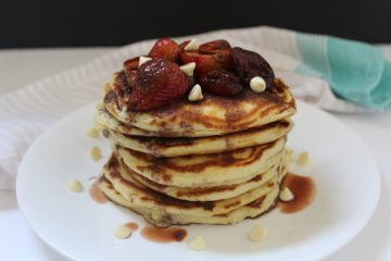 White Chocolate Chip Pancakes with Balsamic Roasted Strawberries