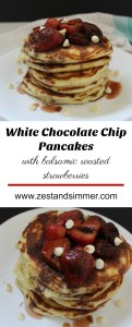 White Chocolate Chip Pancakes with Balsamic Roasted Strawberries - Fluffy pancakes stuffed with white chocolate chips and topped with decadent balsamic roasted strawberries. These make for a luxurious breakfast to start off the weekend!
