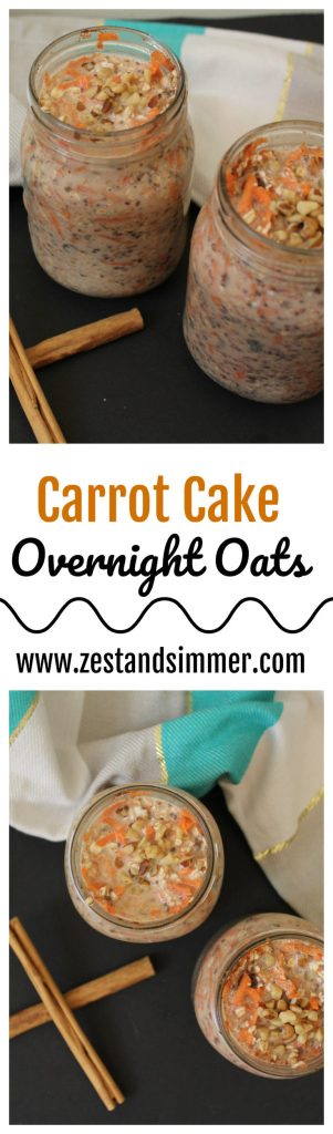 Carrot Cake Overnight Oats - these oats are delicious and super easy to make, taste like dessert and make for an excellent grab and go breakfast for those busy weekday mornings!
