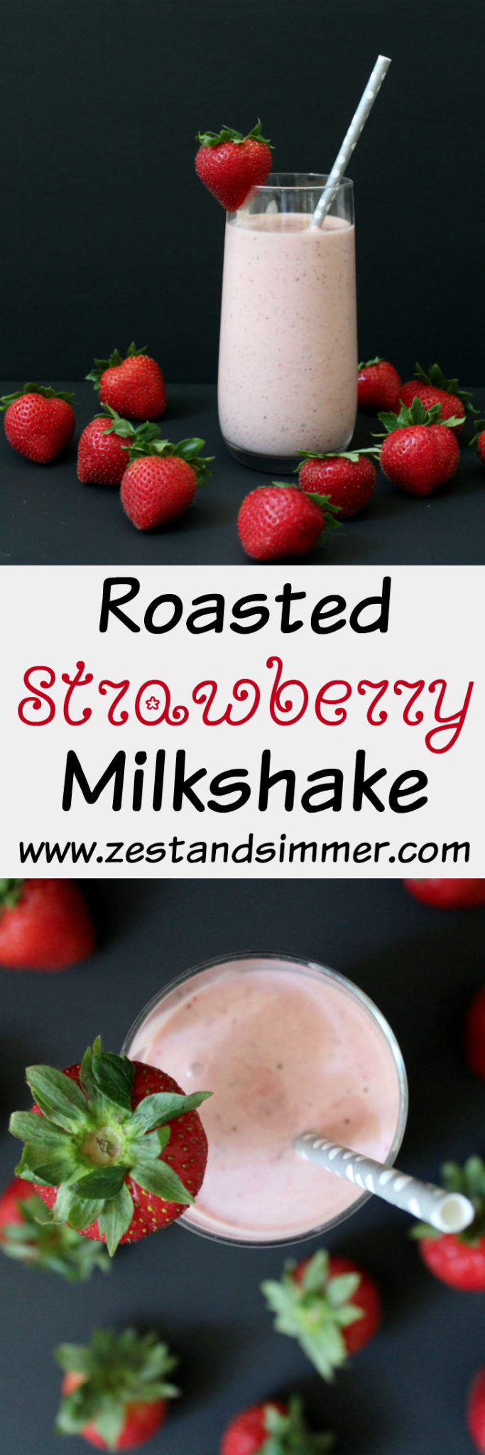 Roasted Strawberry Milkshake - Treat yourself & your loved ones to this ridiculously delicious milkshake! Once you try the classic strawberry shake with roasted strawberries you will never want it any other way! A perfect frozen treat for those hot summer days.